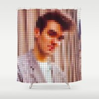 the smiths Shower Curtains featuring Morrissey Pixel Portrait by Stuff.