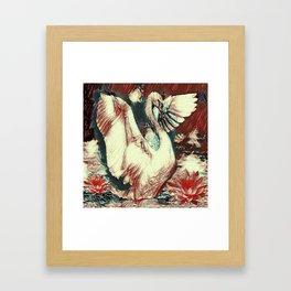WHITE SWAN BROWNS & GREY  MODERN ART DESIGN Framed Art Print