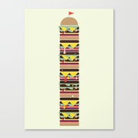 hamburger Canvas Prints featuring Hamburger by Hello Animal