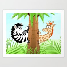 Hidning zebra and giraffe Art Print