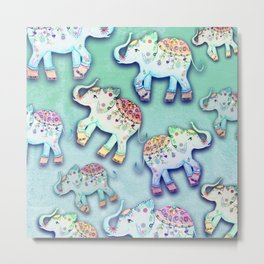 ELEPHANT PARTY MINT Metal Print