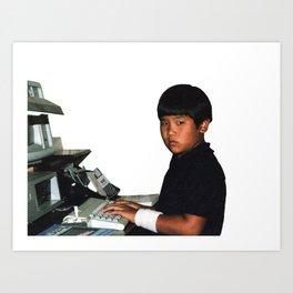 Hardcore coder with wrist band Art Print
