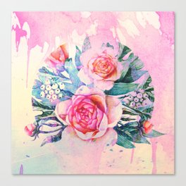 bouquet and watercolors Canvas Print