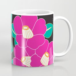 Japanese Style Camellia - Pink and Black Coffee Mug