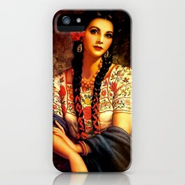 Jesus Helguera Painting of a Mexican Calendar Girl with Braids iPhone Case