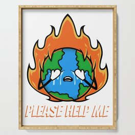 Earth Day Climate Change - Please Help Me Serving Tray