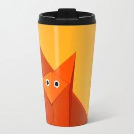 Geometric Cute Origami Fox Portrait Travel Mug