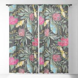 Protea flower botanical watercolor Sheer Curtain