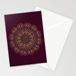 Gold Mandala Mosaic on Royal Red Stationery Cards