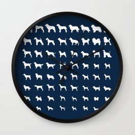 All Dogs (Navy) Wall Clock