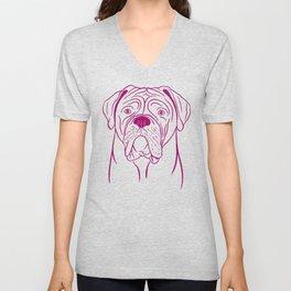 Dogue de Bordeaux (Pink and Berry) Unisex V-Neck