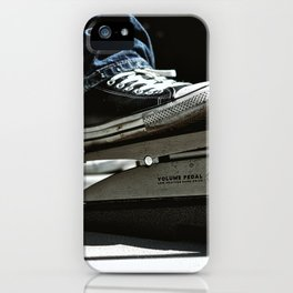 Chuck Taylors and a Volume Pedal on a Pedal Board iPhone Case