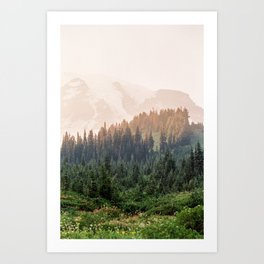 Mountain Rainier at Sunset Art Print