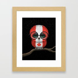 Baby Owl with Glasses and Canadian Flag Framed Art Print