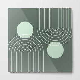 Mid Century Modern Geometric 63 (Rainbow and Sun Abstraction) Metal Print