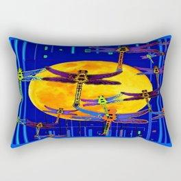 Dragonflies Moon Fantasy Blue Art Abstract Rectangular Pillow