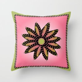 Pink Stitched Flower Throw Pillow