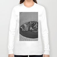 sofa Long Sleeve T-shirts featuring sleeping cat on sofa by gzm_guvenc