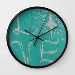 Teal Love Star Wall Clock