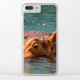 African hippo swimming in water Clear iPhone Case