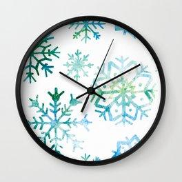 Blue Watercolor Snowflake Wall Clock
