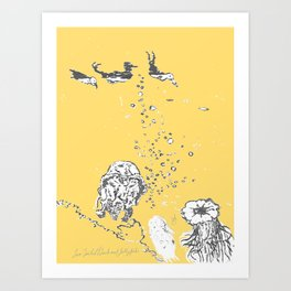Two Tailed Duck and Jellyfish Pale Yellow Mellow Art Print