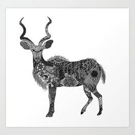 Henna-Inspired Kudu  Art Print