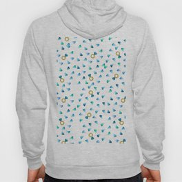Diamond Pattern Cartoon Pins Ring Patch Style Teal Blue Cell Duck Egg Blue Design Hoody
