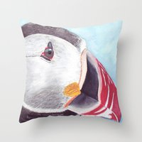 puffin Throw Pillows featuring Puffin by Art by Frydendal