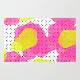 Sarah's Flowers - Abstract Watercolor on Polka Dots Rug
