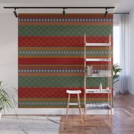 Traditional Romanian embroidery pixel Wall Mural