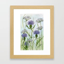 Thistle White Lace Watercolor Framed Art Print