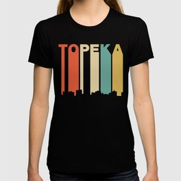 Retro 1970's Style Topeka Kansas Skyline T-shirt