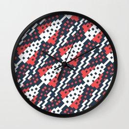 Chocktaw Geometric Square Cutout Pattern - Candy Cane USA Wall Clock