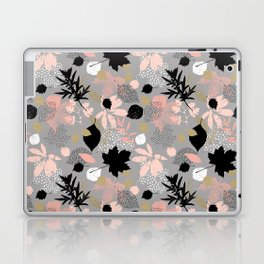 Abstract maple leaves autumn in pink and gray colors Laptop & iPad Skin