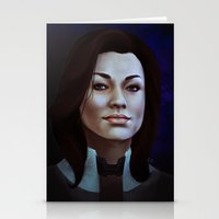 nan lawson Stationery Cards featuring Mass Effect: Miranda Lawson by Ruthie Hammerschlag