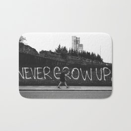 Never Grow Up – East London Black and White Bath Mat