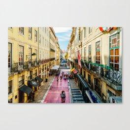 Beautiful Pink Street Downtown Lisbon City, Wall Art Print, Modern Architecture Art, Poster Decor Canvas Print