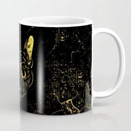 Black and Gold Sphynx Cat on Grunge Egypitan background Coffee Mug