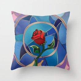 Enchanted Rose Stained Glass Throw Pillow