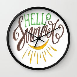 Hand Drawn Lettering Composition Hello Summer Wall Clock