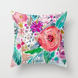 High by the Beach Painterly Floral Throw Pillow