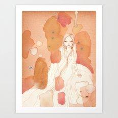Polar bear Girl Art Print