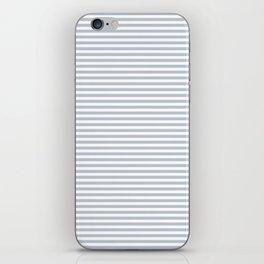 Pale Blue Grey and White Horizontal Stripes iPhone Skin