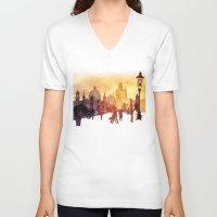 takmaj V-neck T-shirts featuring Charles Bridge by takmaj
