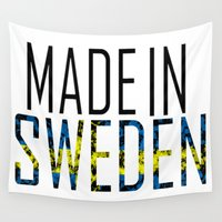 sweden Wall Tapestries featuring Made In Sweden by VirgoSpice
