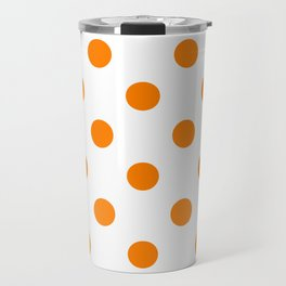 Polka Dots - Orange on White Travel Mug