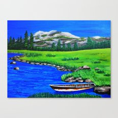 River bank with little old boat Canvas Print