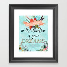 Go Stubbornly in the Direction of your Dreams - Boho Florals Framed Art Print