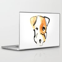 jack russell Laptop & iPad Skins featuring Jack Russell by Jen Moules